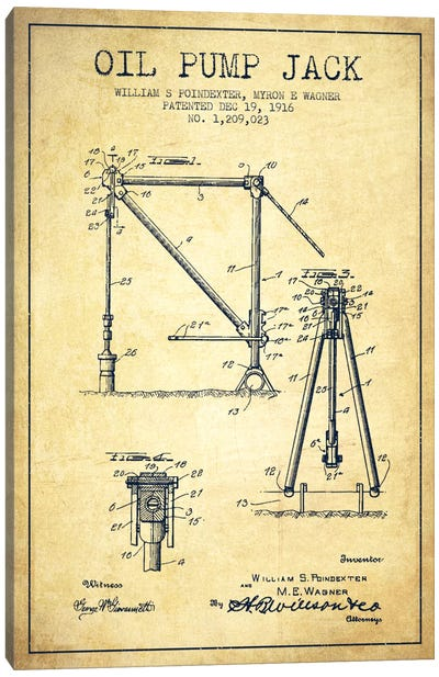 Oil Pump Jack Vintage Patent Blueprint Canvas Art Print