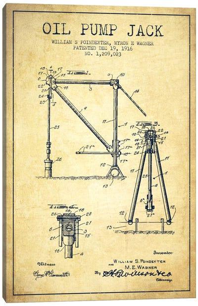 Oil Pump Jack Vintage Patent Blueprint Canvas Art Print