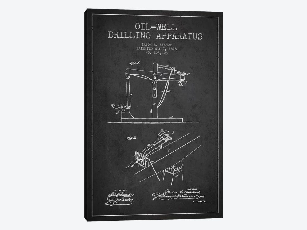 Oil Well Apparatus Charcoal Patent Blueprint by Aged Pixel 1-piece Canvas Wall Art