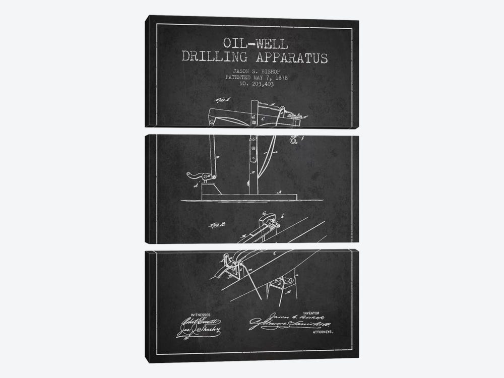 Oil Well Apparatus Charcoal Patent Blueprint by Aged Pixel 3-piece Canvas Artwork