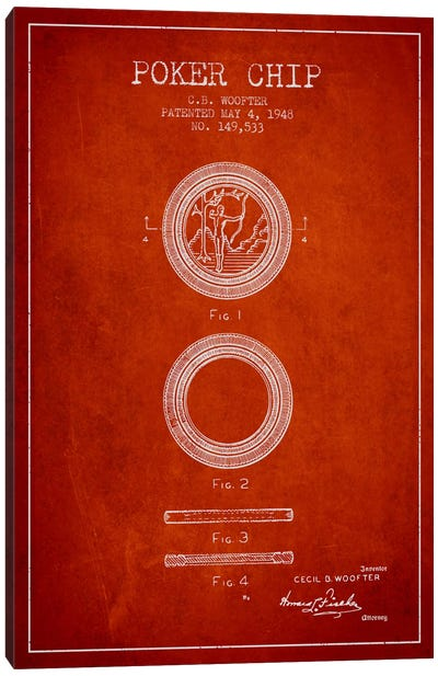 Poker Chip 2 Red Patent Blueprint Canvas Print #ADP144