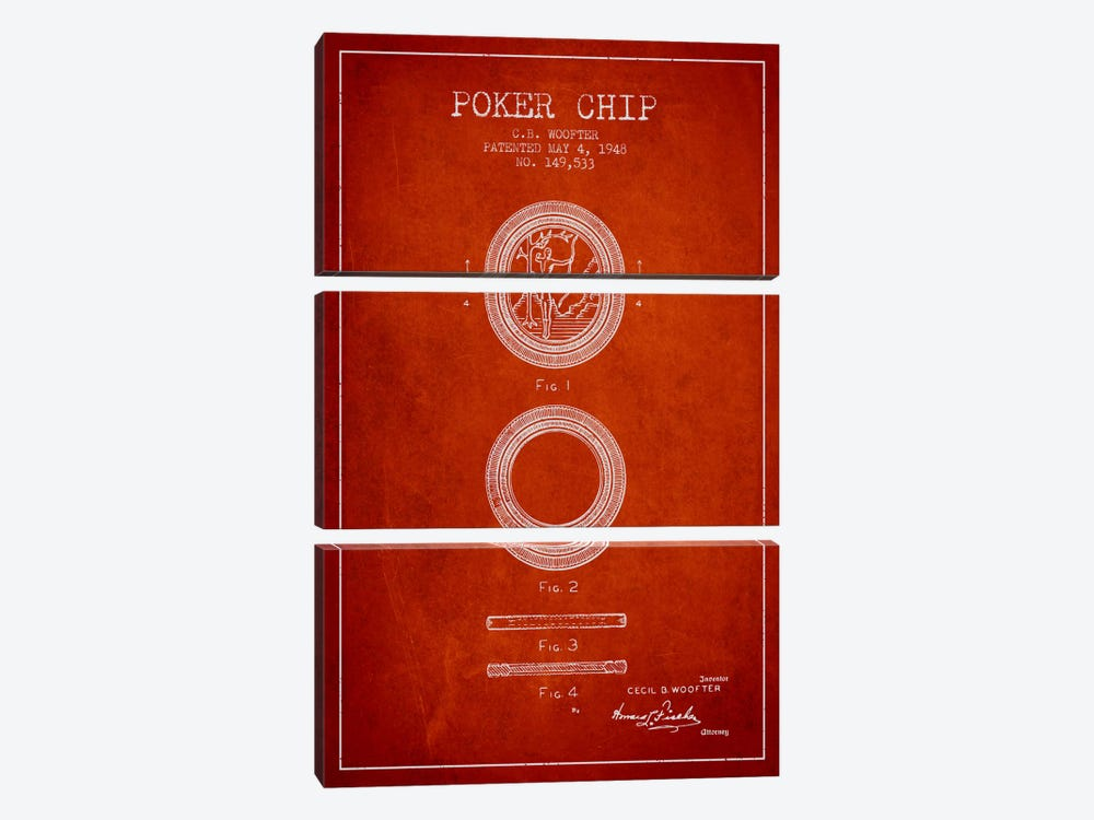 Poker Chip 2 Red Patent Blueprint by Aged Pixel 3-piece Canvas Wall Art