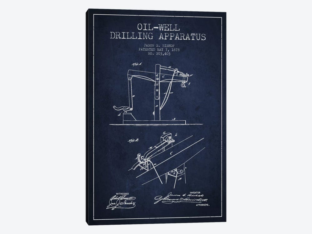 Oil Well Apparatus Navy Blue Patent Blueprint by Aged Pixel 1-piece Canvas Print
