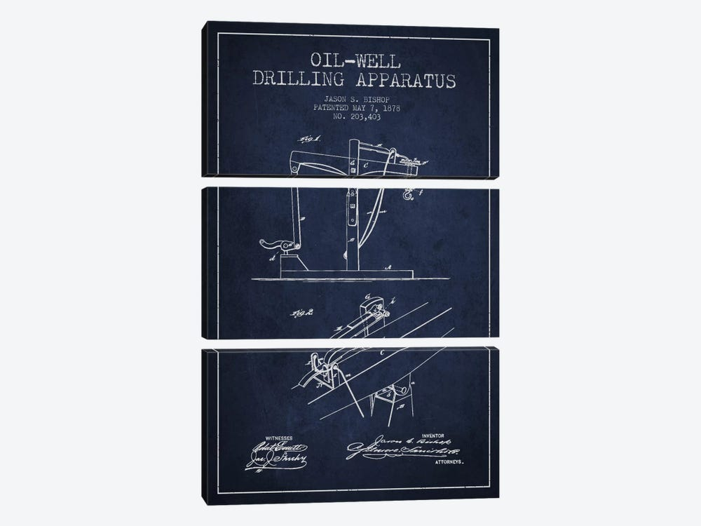 Oil Well Apparatus Navy Blue Patent Blueprint by Aged Pixel 3-piece Canvas Art Print