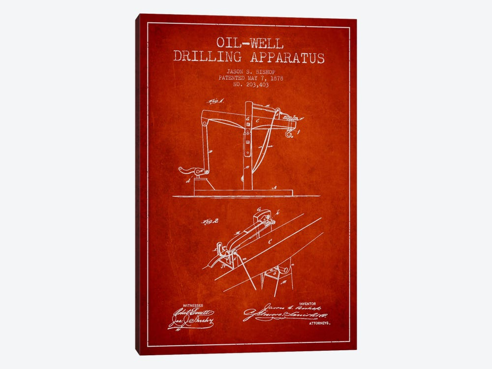 Oil Well Apparatus Red Patent Blueprint by Aged Pixel 1-piece Canvas Art