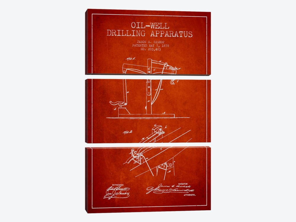 Oil Well Apparatus Red Patent Blueprint by Aged Pixel 3-piece Canvas Artwork