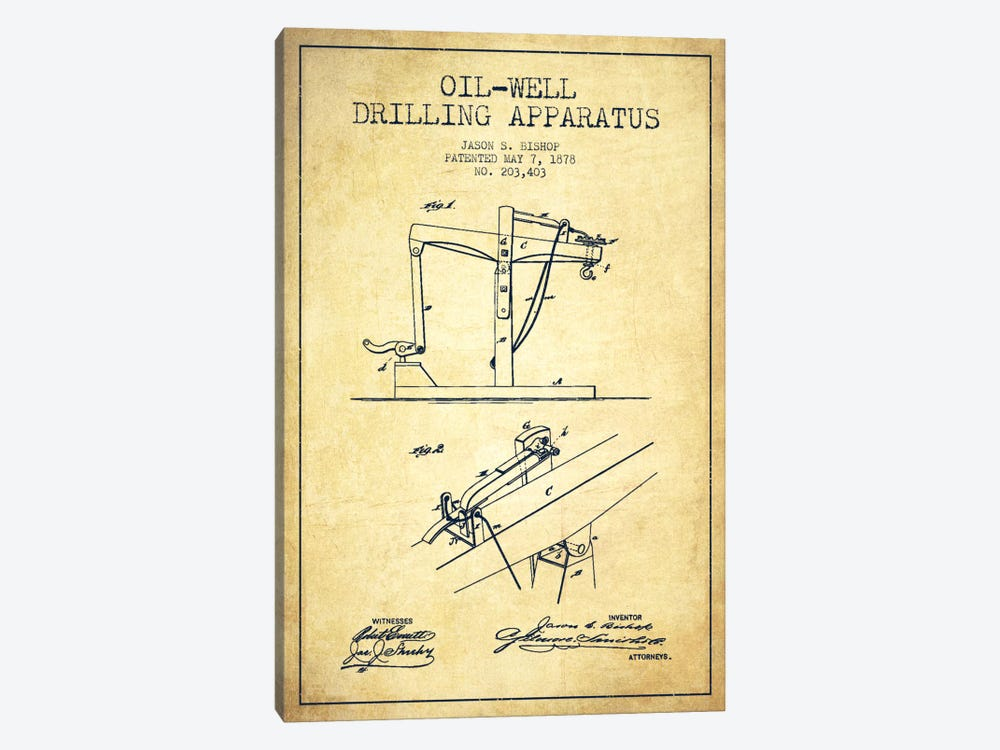 Oil Well Apparatus Vintage Patent Blueprint by Aged Pixel 1-piece Canvas Art Print