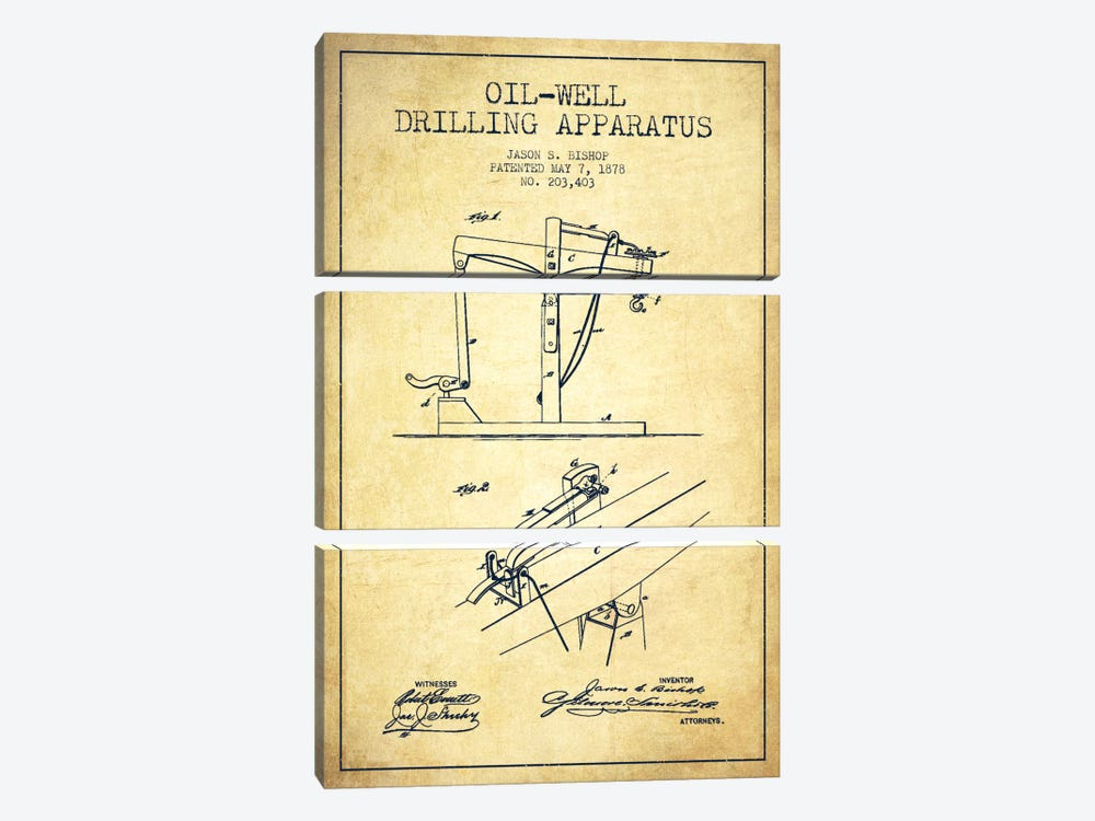 Oil Well Apparatus Vintage Patent Blueprint by Aged Pixel 3-piece Art Print