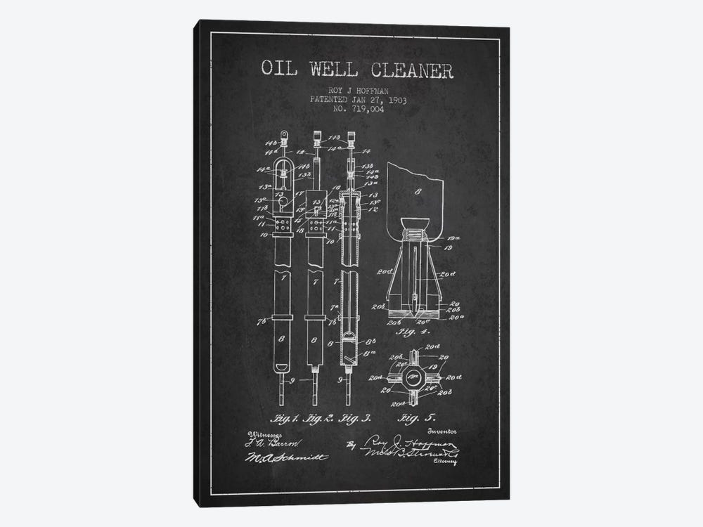 Oil Well Cleaner Charcoal Patent Blueprint by Aged Pixel 1-piece Canvas Artwork