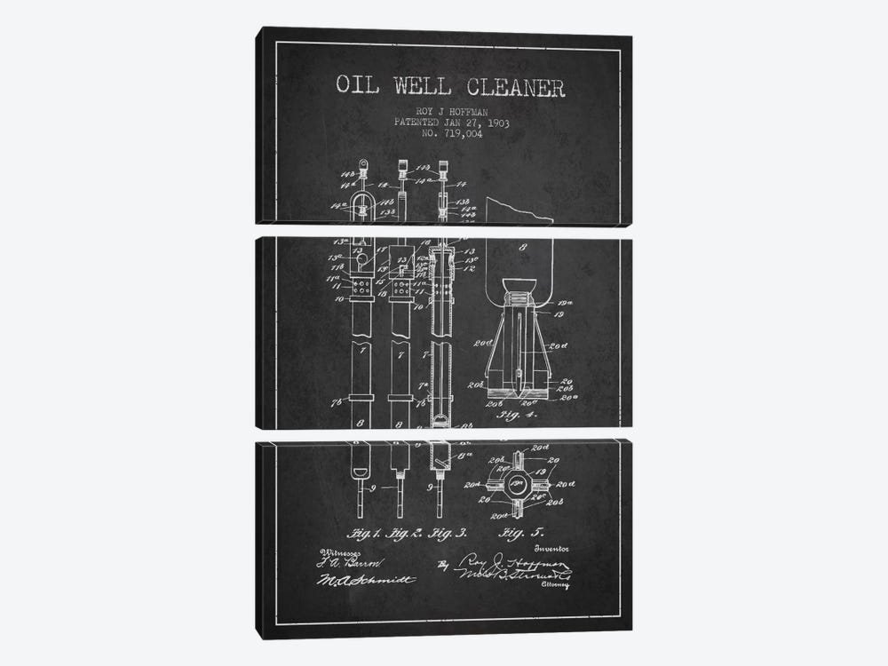 Oil Well Cleaner Charcoal Patent Blueprint by Aged Pixel 3-piece Canvas Art