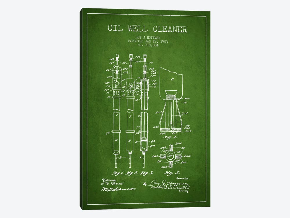 Oil Well Cleaner Green Patent Blueprint by Aged Pixel 1-piece Canvas Art Print
