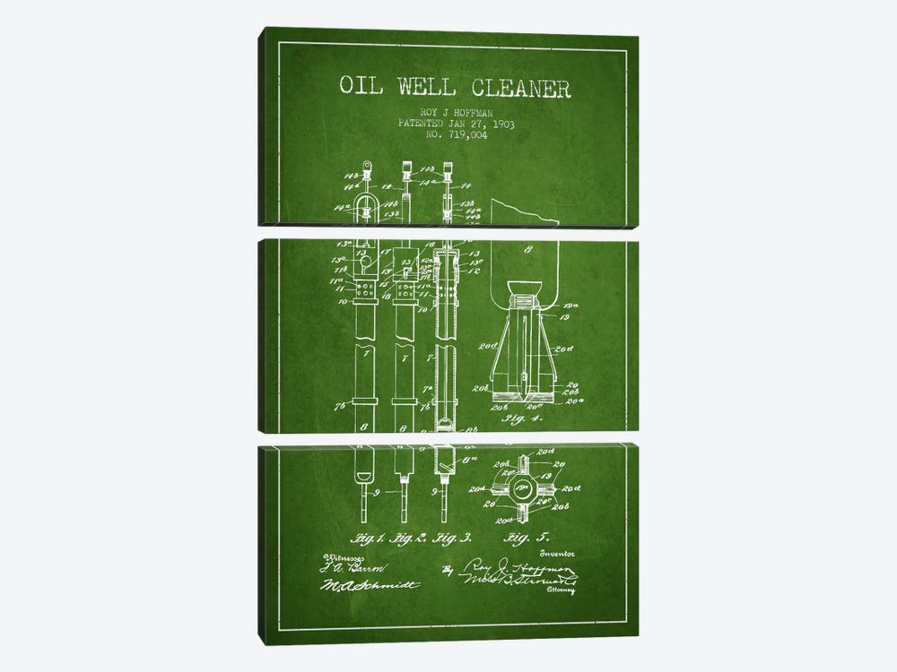 Oil Well Cleaner Green Patent Blueprint by Aged Pixel 3-piece Art Print