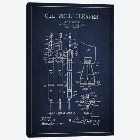 Oil Well Cleaner Navy Blue Patent Blueprint Canvas Print #ADP1456} by Aged Pixel Canvas Artwork