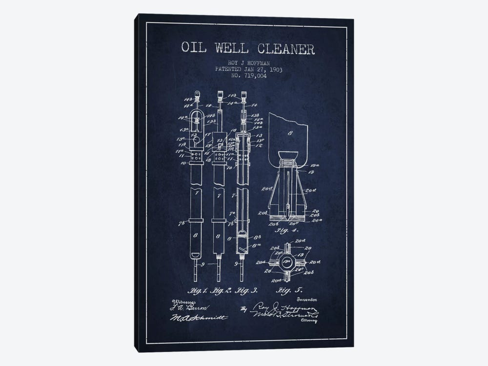 Oil Well Cleaner Navy Blue Patent Blueprint by Aged Pixel 1-piece Canvas Wall Art