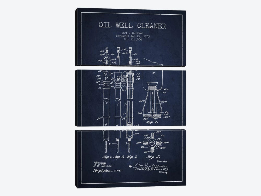 Oil Well Cleaner Navy Blue Patent Blueprint by Aged Pixel 3-piece Canvas Wall Art