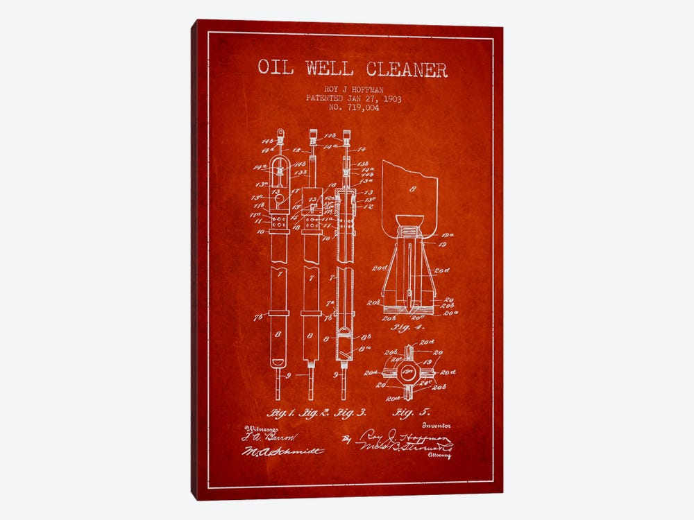 Oil Well Cleaner Red Patent Blueprint by Aged Pixel 1-piece Canvas Print