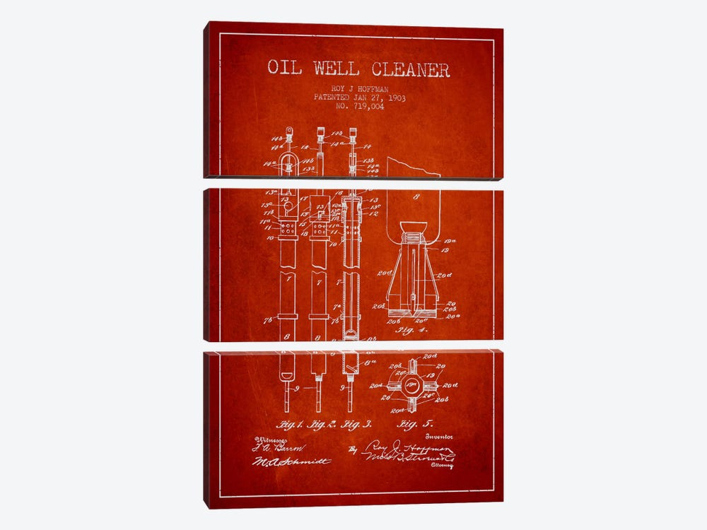 Oil Well Cleaner Red Patent Blueprint by Aged Pixel 3-piece Canvas Print