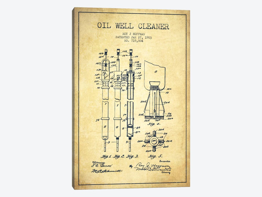 Oil Well Cleaner Vintage Patent Blueprint by Aged Pixel 1-piece Canvas Art