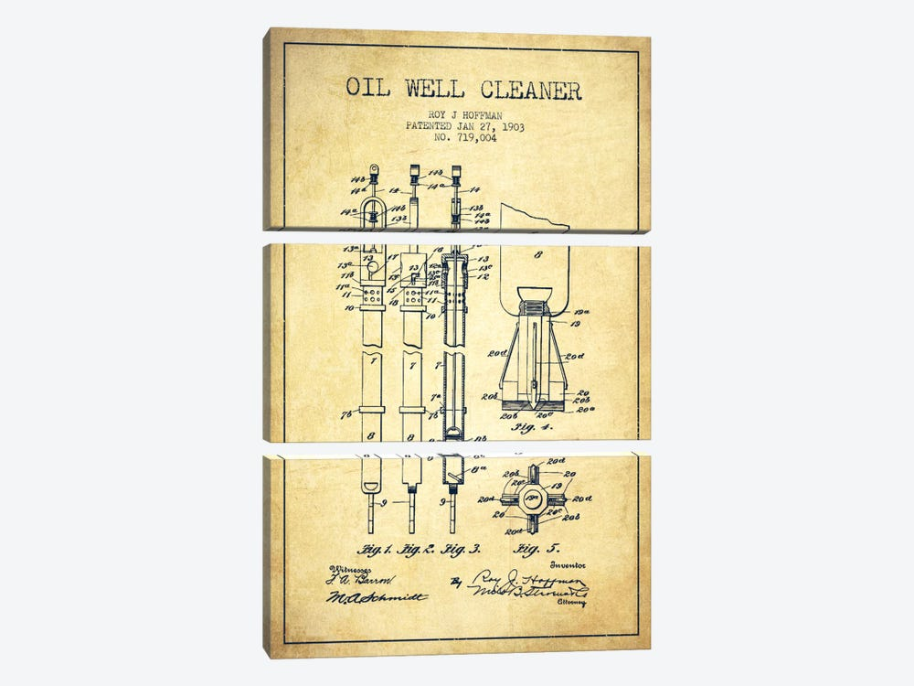 Oil Well Cleaner Vintage Patent Blueprint by Aged Pixel 3-piece Canvas Wall Art