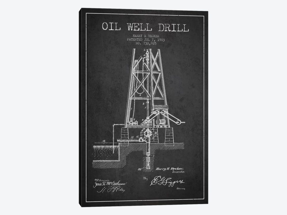 Oil Well Drill Charcoal Patent Blueprint by Aged Pixel 1-piece Canvas Print