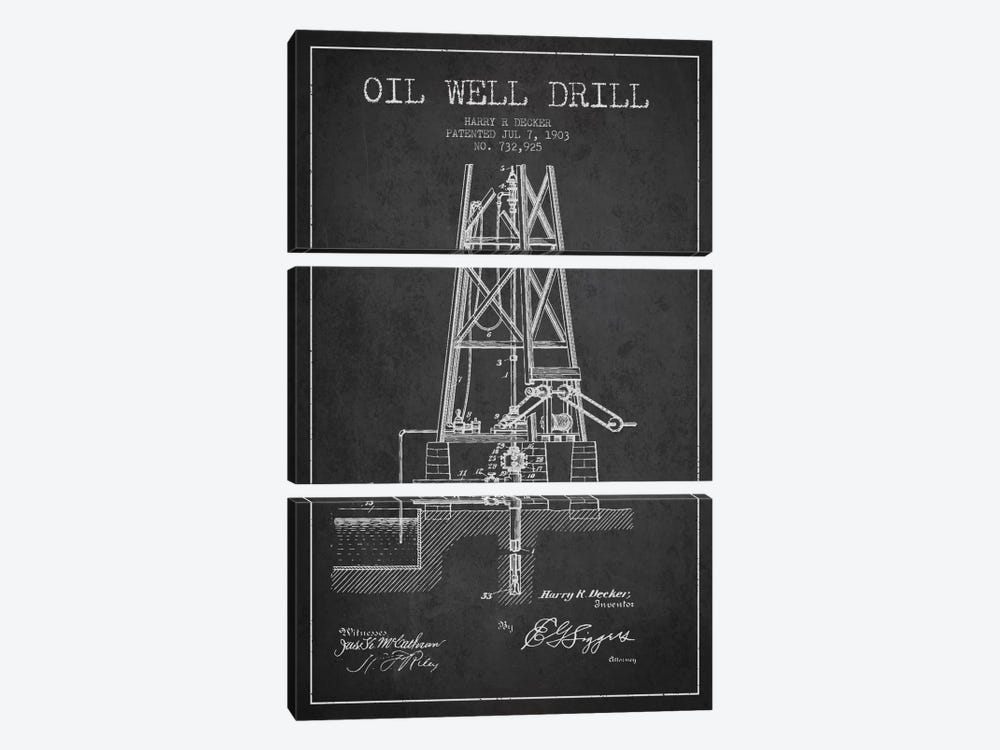 Oil Well Drill Charcoal Patent Blueprint by Aged Pixel 3-piece Canvas Art Print