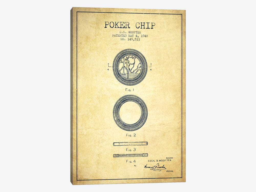 Poker Chip 2 Vintage Patent Blueprint by Aged Pixel 1-piece Art Print