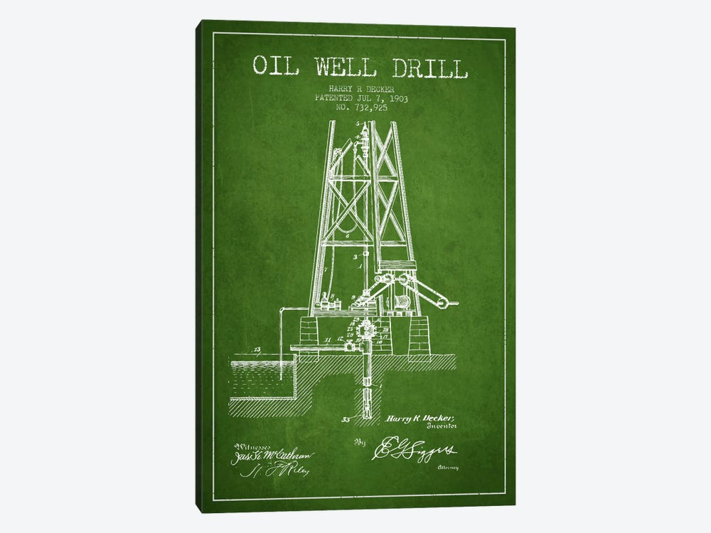 Oil Well Drill Green Patent Blueprint by Aged Pixel 1-piece Art Print