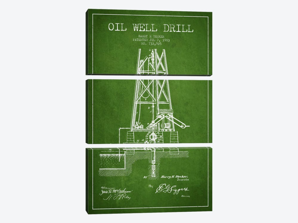 Oil Well Drill Green Patent Blueprint by Aged Pixel 3-piece Canvas Print
