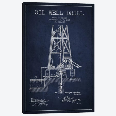 Oil Well Drill Navy Blue Patent Blueprint Canvas Print #ADP1461} by Aged Pixel Canvas Art