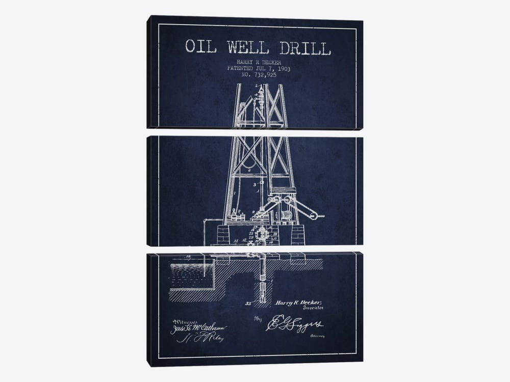 Oil Well Drill Navy Blue Patent Blueprint by Aged Pixel 3-piece Canvas Art