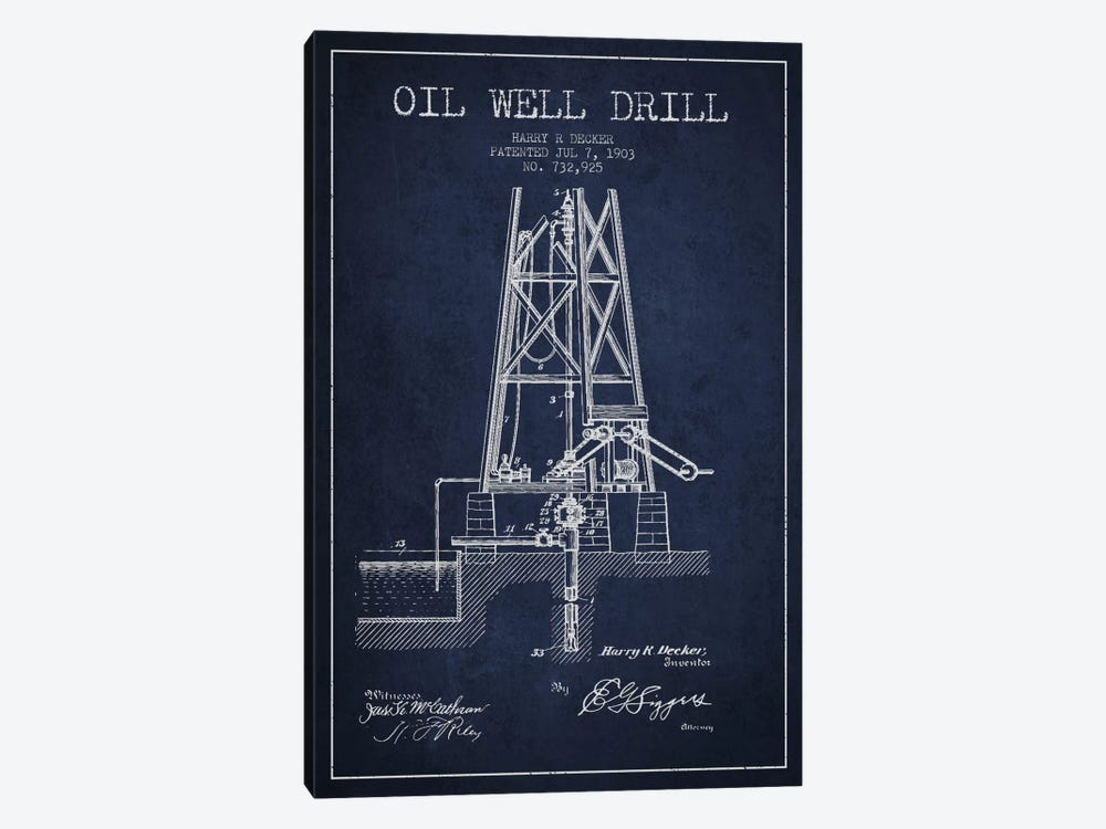 Oil Well Drill Navy Blue Patent Blueprint by Aged Pixel 1-piece Canvas Wall Art