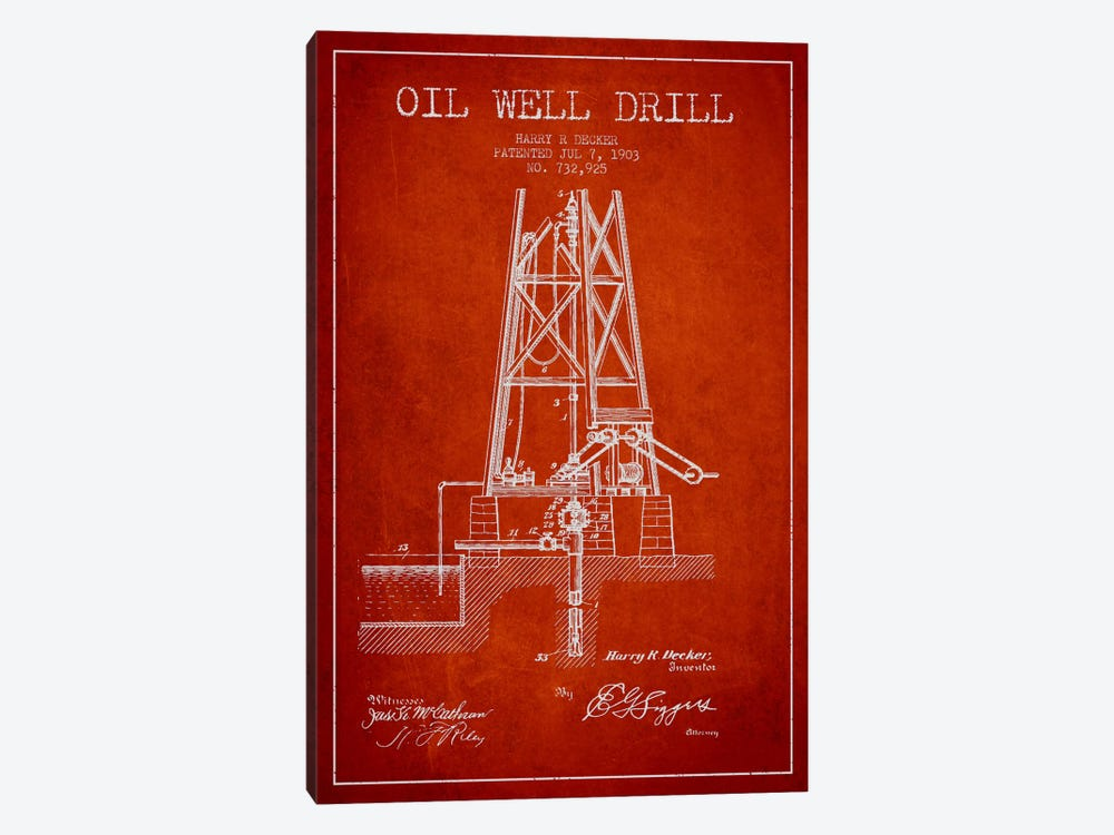 Oil Well Drill Red Patent Blueprint by Aged Pixel 1-piece Art Print