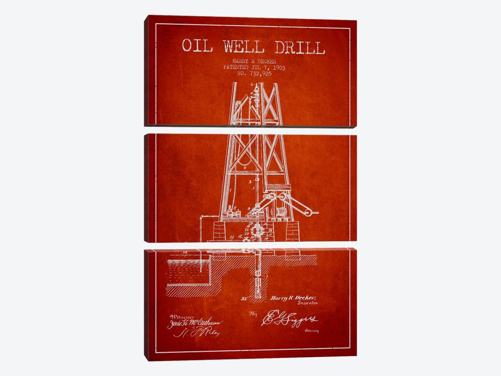 Oil Well Drill Red Patent Blueprint by Aged Pixel 3-piece Canvas Print