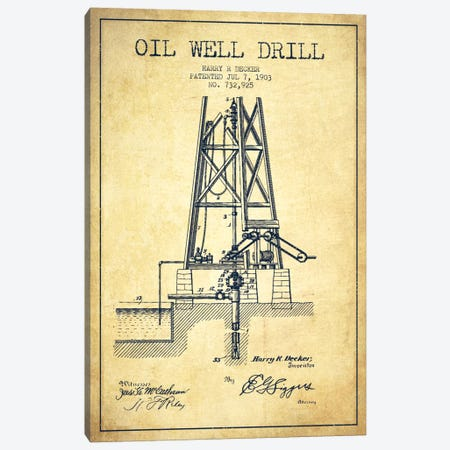 Oil Well Drill Vintage Patent Blueprint Canvas Print #ADP1463} by Aged Pixel Canvas Artwork