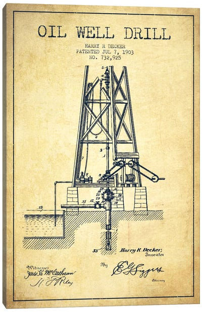 Oil Well Drill Vintage Patent Blueprint Canvas Art Print