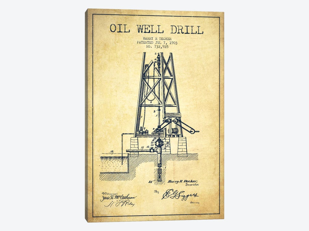 Oil Well Drill Vintage Patent Blueprint by Aged Pixel 1-piece Canvas Artwork