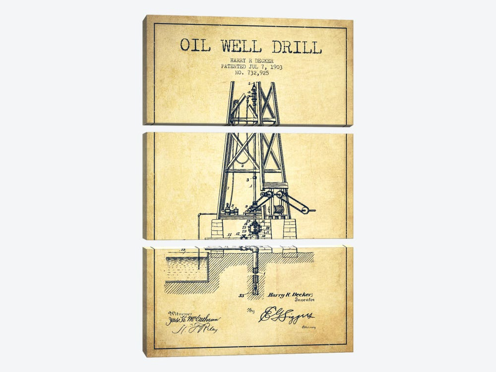 Oil Well Drill Vintage Patent Blueprint by Aged Pixel 3-piece Canvas Artwork