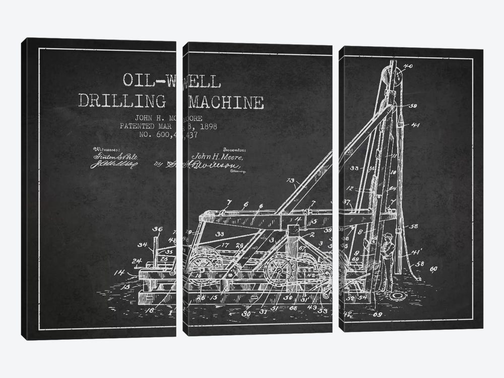 Oil Well Drilling Charcoal Patent Blueprint by Aged Pixel 3-piece Art Print