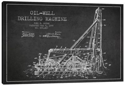 Oil Well Drilling Charcoal Patent Blueprint Canvas Art Print