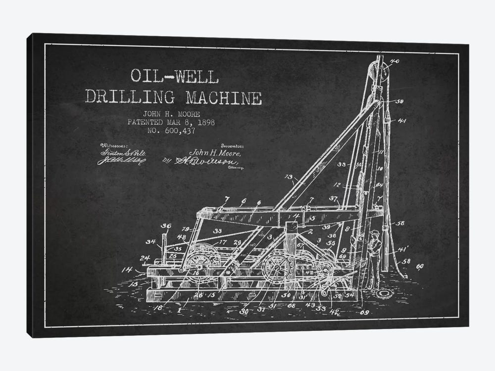 Oil Well Drilling Charcoal Patent Blueprint by Aged Pixel 1-piece Canvas Print