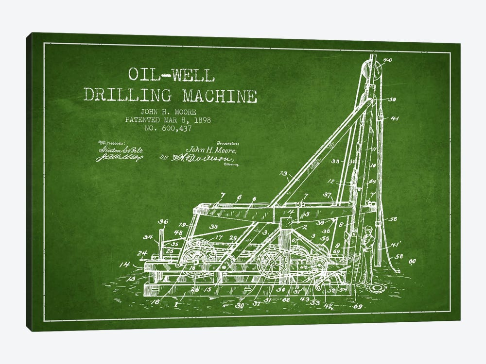 Oil Well Drilling Green Patent Blueprint by Aged Pixel 1-piece Canvas Art
