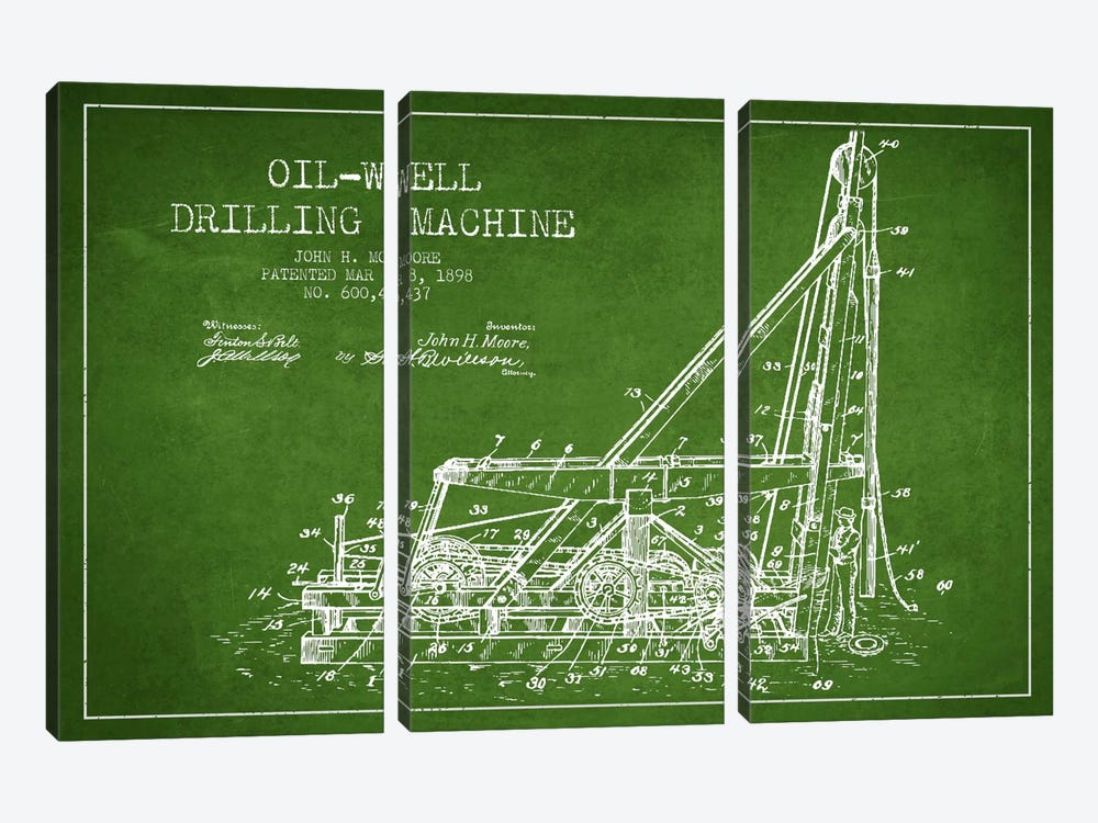 Oil Well Drilling Green Patent Blueprint by Aged Pixel 3-piece Canvas Wall Art