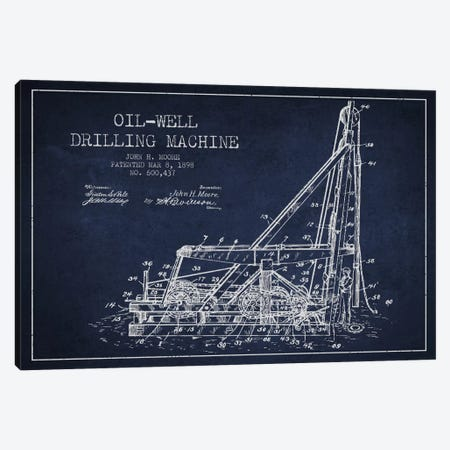 Oil Well Drilling Navy Blue Patent Blueprint Canvas Print #ADP1466} by Aged Pixel Canvas Art Print