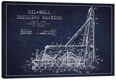 Oil Well Drilling Navy Blue Patent Blueprint Canvas Art Print