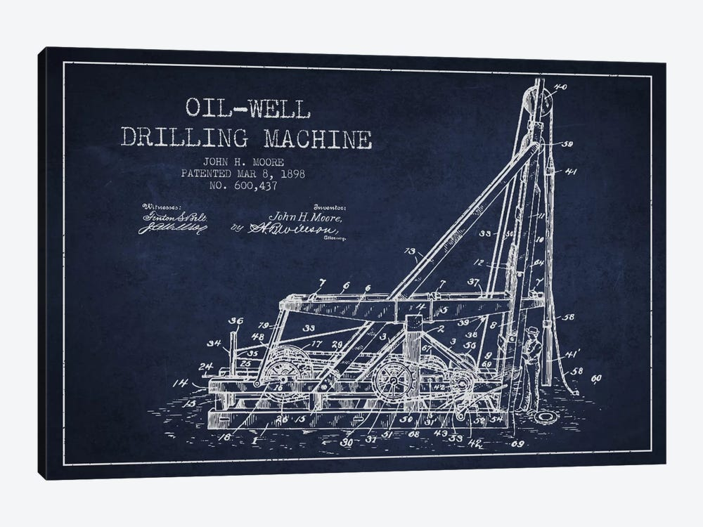 Oil Well Drilling Navy Blue Patent Blueprint by Aged Pixel 1-piece Art Print