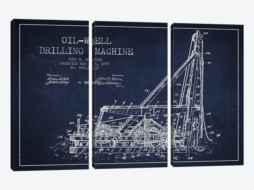 Oil Well Drilling Navy Blue Patent Blueprint by Aged Pixel 3-piece Canvas Art Print