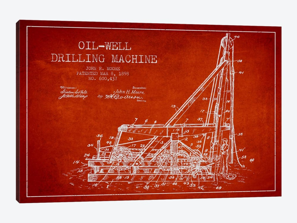 Oil Well Drilling Red Patent Blueprint by Aged Pixel 1-piece Canvas Artwork
