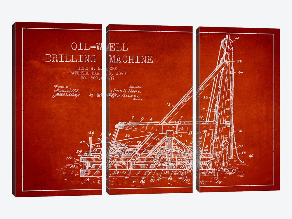 Oil Well Drilling Red Patent Blueprint by Aged Pixel 3-piece Canvas Wall Art