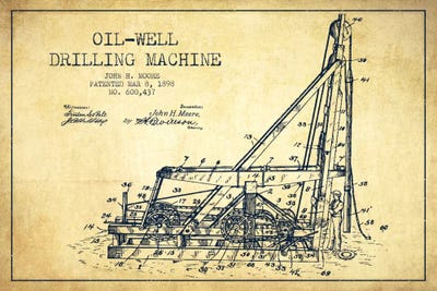 Oil well drilling vintage patent blueprint art print aged pixel oil well drilling vintage patent blueprint art print aged pixel icanvas malvernweather Choice Image