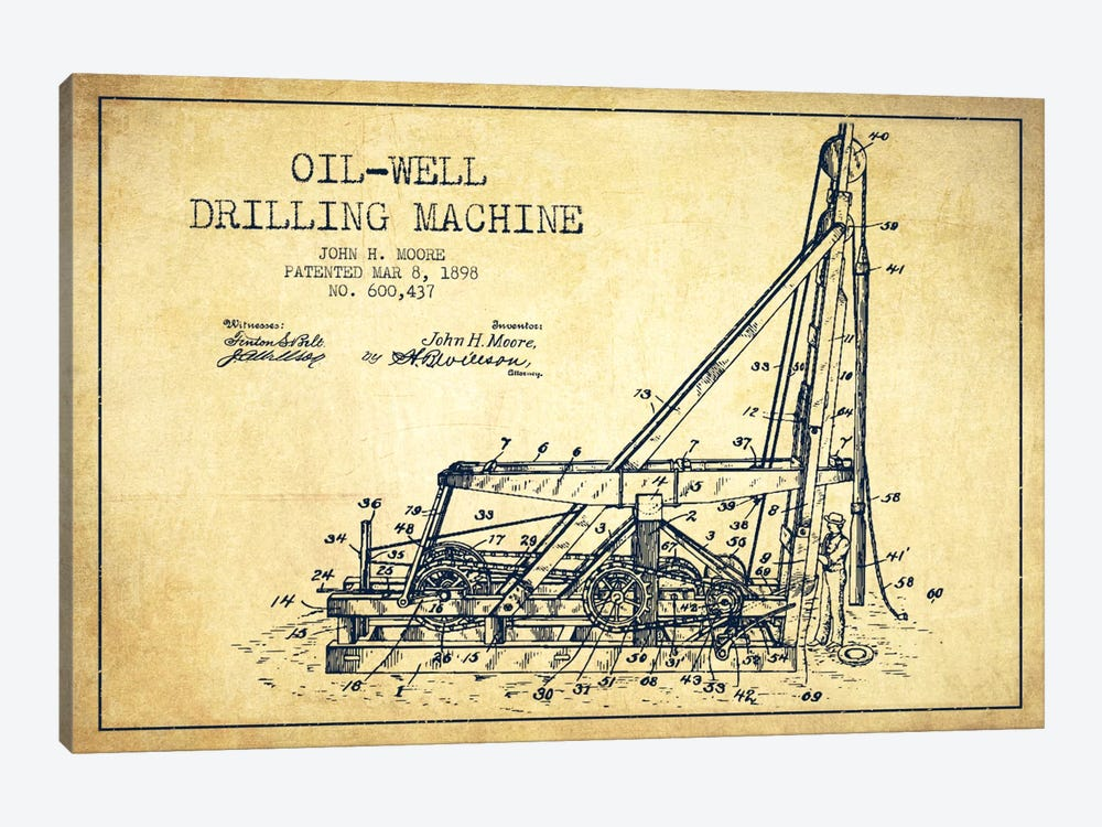 Oil Well Drilling Vintage Patent Blueprint by Aged Pixel 1-piece Canvas Art Print